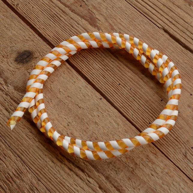 Zierspirale / Bowdenzugummantelung, orange/weiß, 120cm lang, orig. Altbestand 60/70er J.