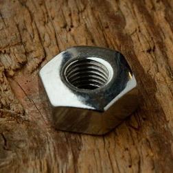 Achsmutter FG 7.9mm, verchromt, für Vorderachse, polierte Luxusausführung, orig. 30/50er J.