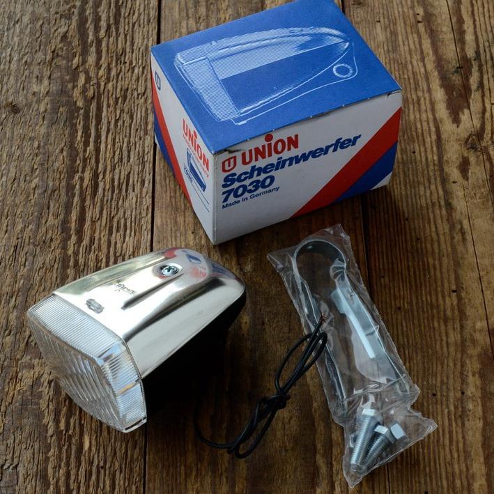 Union Scheinwerfer 7030, orig. 70er Jahre, Kunststoff mit Alublende