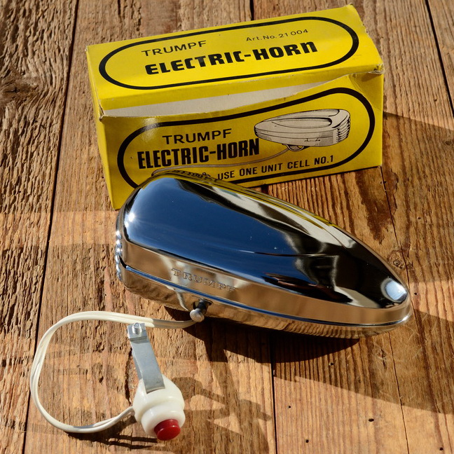 "Hupe ""TRUMPF ELECTRIC HORN"", verchromt, orig. Altbestand, 70/80er Jahre"