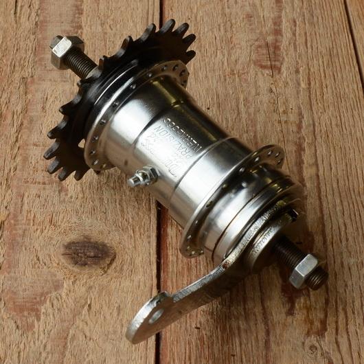 """Nabe Hinterrad,""""DUREX"""", verchromt, orig. 50/60er Jahre, Freilauf/Rücktritt, 36Loch, Achse FG9.5mm, Einbaumaß 110mm"""