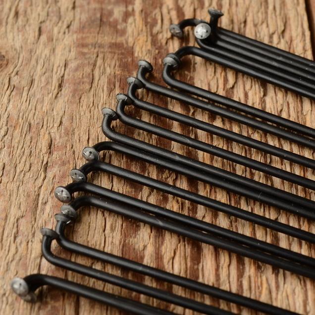 Speichen 2mm, glatt, Stahl, schwarz eloxiert, ohne Nippel