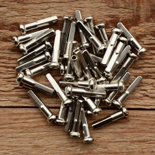 Speichennippel f. Holzfelgen, 2mm, D-Schaft=4.0 mm, L=20 mm, Messing vernickelt