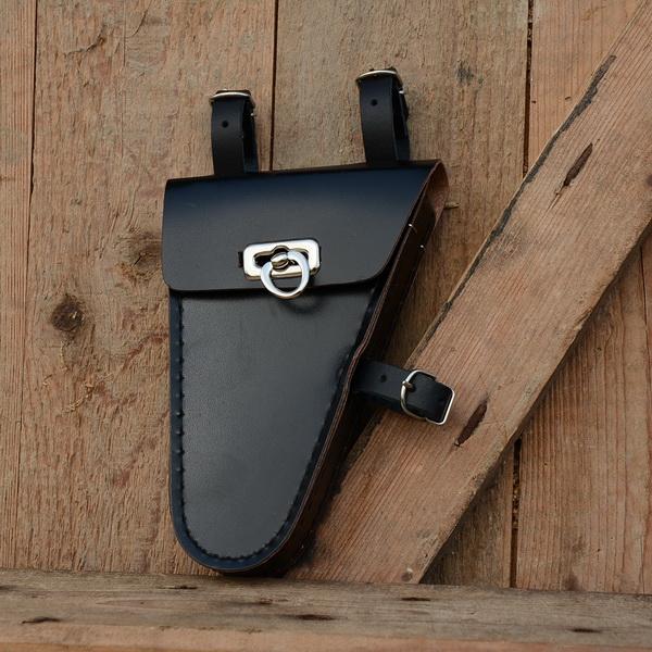 Werkzeugtasche, Lefa, schwarz,  Beschläge vernickelt, passend für viele Herrenfahrradklassiker