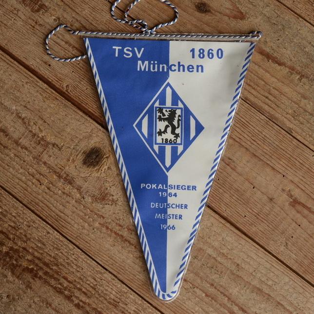 """TOBI-Wimpel """"TSV 1860 MÜNCHEN"""", 60/70er Jahre Altbestand"""