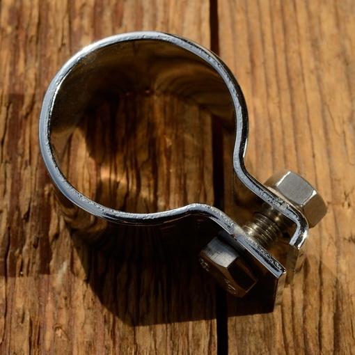 Schelle f. Auspuff-Krümmer-Dämpfer, verchromt, D_innen 29-30mm, Breite=20mm