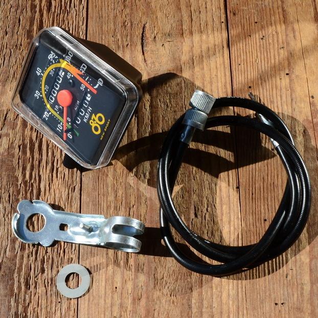 """Tachometer """"NEW SPORT"""", incl. 820mm Welle und Antreiber 28"""",  schwarz, mit Halter, Importmodell"""