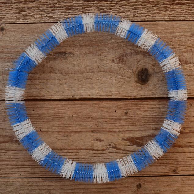 Nabenputzring, blau-weiß, Nylon, 1 Stück, L=650mm, für Mopeds mit Vollnaben, ablängbar