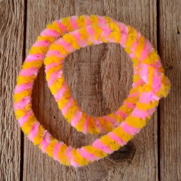 Nabenputzring, gelb-rosa, flauschig, L=52cm, für Moped und Fahrrad, Drahteinlage, ablängbar