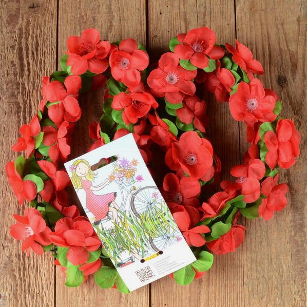 Blumen Girlande, rot-grün, Kunstfaser, zur Dekoration