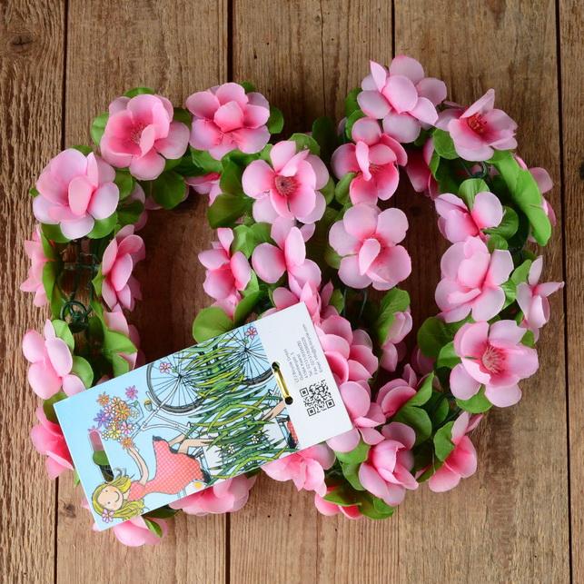 Blumen Girlande, rosa-grün, Kunstfaser, zur Dekoration