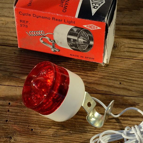 """Strebenrücklicht, """"RINDER"""", Typ MILLER, Kunststoff, weiß, orig. 70/80er Jahre, Rahmenstreben Montage"""