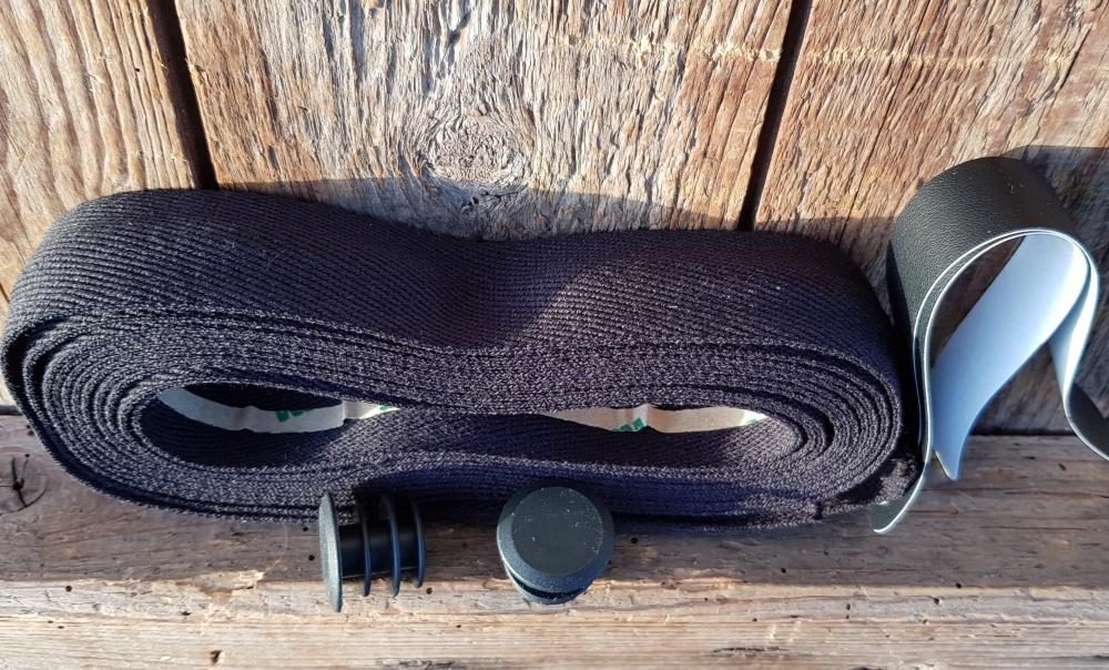 """Lenkerband """"Baumwolle"""", schwarz, 30 mm breite und  extra dicke Ware für ein gutes Griffgefühl!, Satz incl. Stopfen etc."""