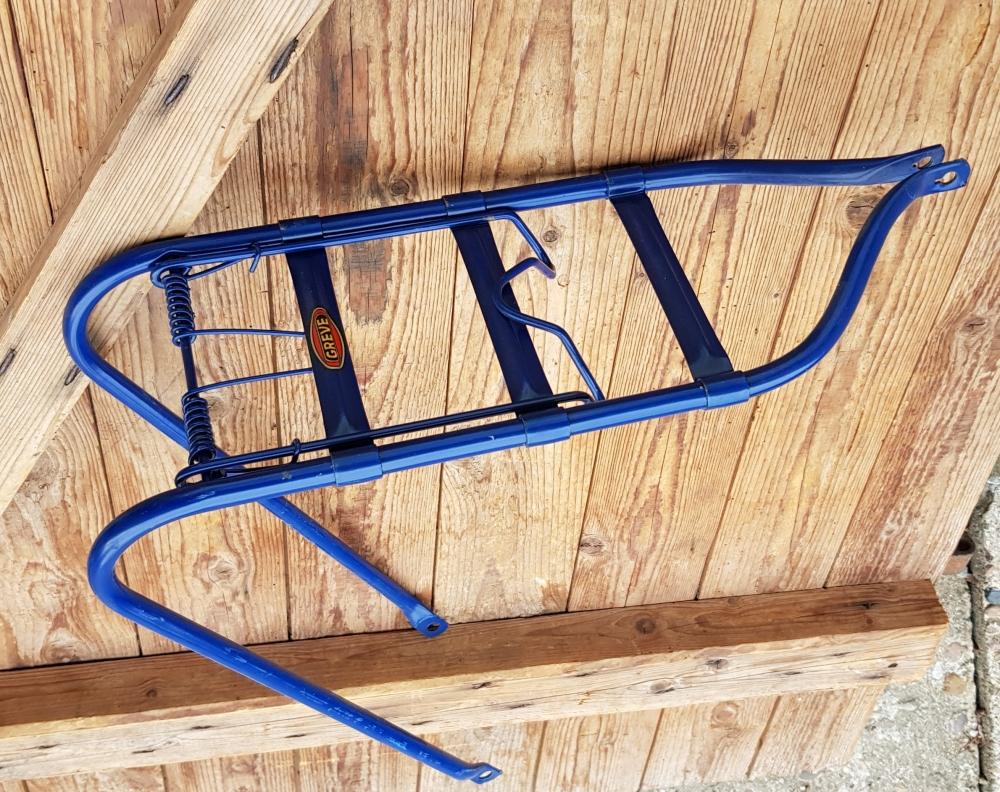 """Gepäckträger """"GREVE"""",  passend für 28 Zoll Fahrräder, blau lackiert, B=160mm, Achsbefestigung"""