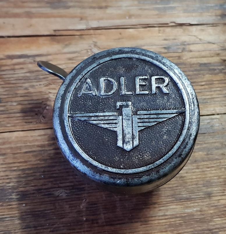 """Fahrrad/Moped Klingel"""" ADLER"""", orig. 30-50er Jahre, mit Unterteil, ggf. Gebrauchsspuren, siehe Bilder"""