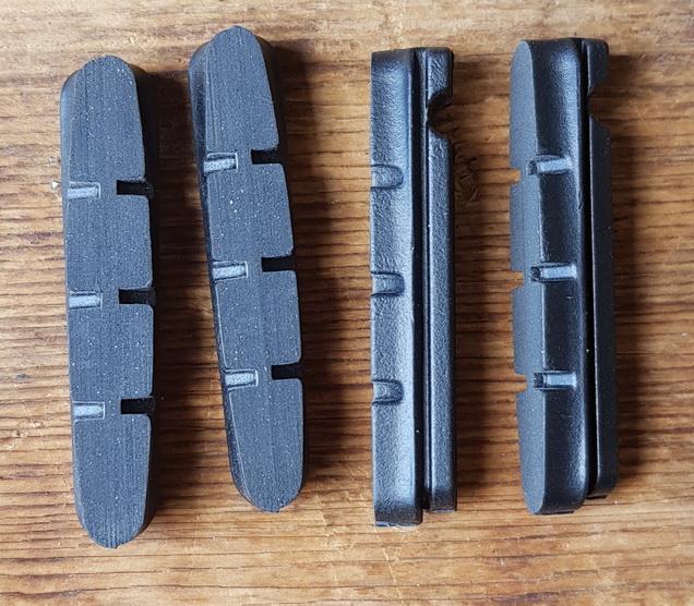 Bremsklötze für 90er J. Rennradklassiker,  CAMPAGNOLO,  Satz 4 Stück, schwarz, passend f. Schuh ca. 51,5 x 8/9 mm (konisch)