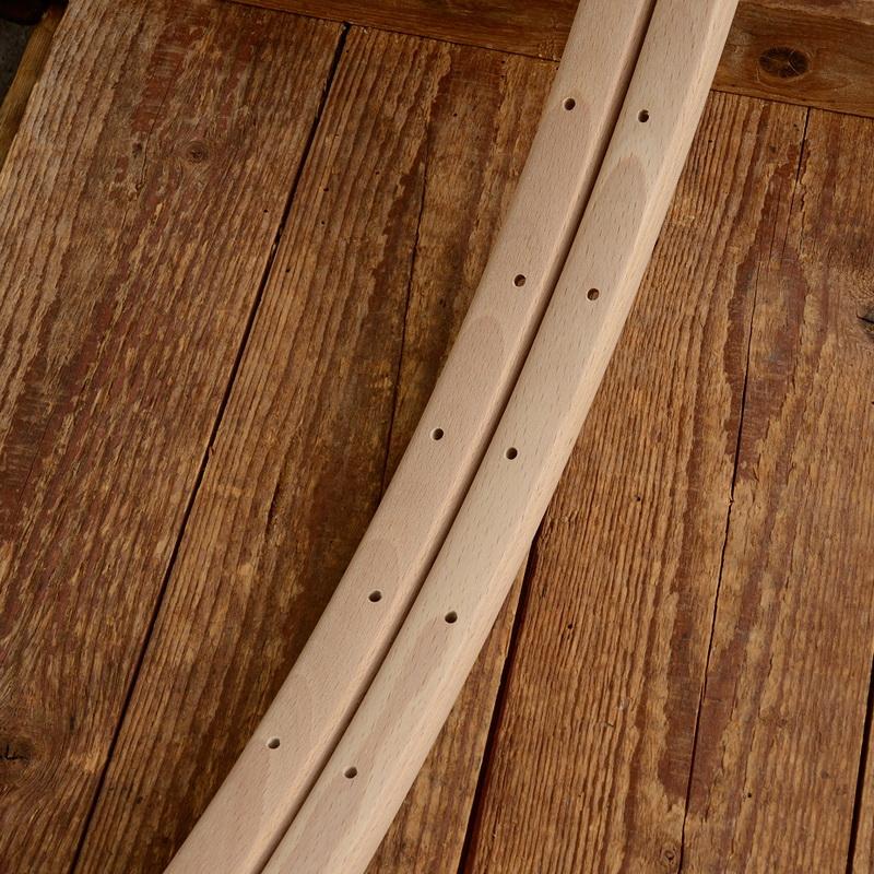 """Holzfelgen Satz f. Schlauchreifen """"Strada Form"""", 28"""" (622), unbehandelt, 36 Loch, 22mm breit"""