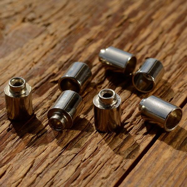 Abschlußhülse / Endkappe, D=6.0/4.5/4.0/3mm L=12mm, Bohrung 1.8mm, abgesetzt, Messing vernickelt