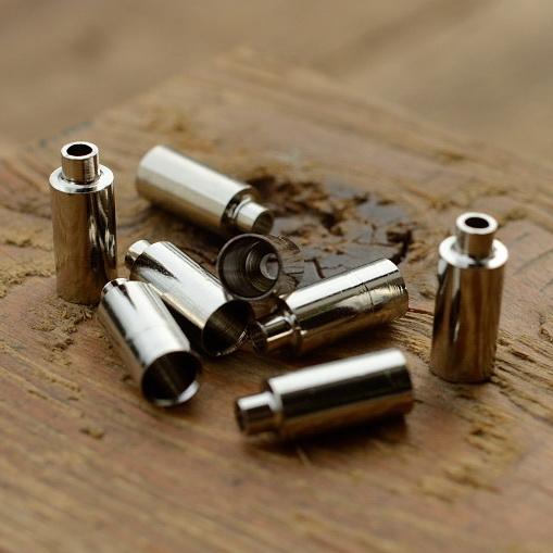 Abschlußhülse / Endkappe, D=5.5/3,5 mm, 5,0 mm innen, L=16,5mm, Bohrung 2.0mm, abgesetzt, Messing vernickelt