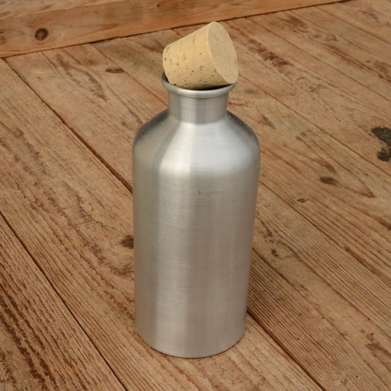 """Trinkflasche """"ALUMINIUM"""", unbehandelt, mit Korken, Neuauflage"""