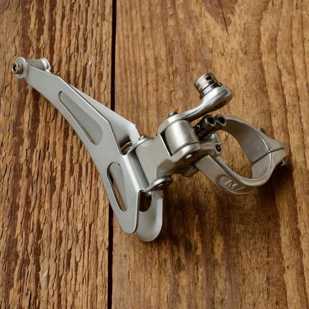 """Umwerfer """"MAVIC"""", 2-fach, Aluminium, mit Klappschelle ca. 29 mm, 70/80er Jahre,  NOS"""
