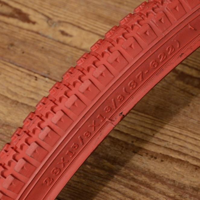 Fahrrad Reifen, 28 x 1 3/8 x 1 5/8 (37-622), rot, klassiche Ausführung