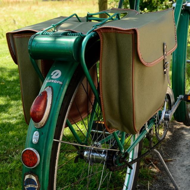 Packtaschen für Fahrrad, olivgrün-braun ,orig Altbestand