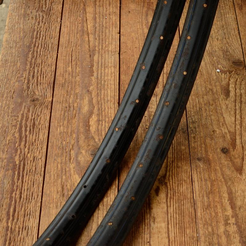"""Fahrradfelgen Satz f. Drahtbereifung, 26"""" x 1.75, (559), schwarz, Linierung blau weiss, orig. 30-50er Jahre, 36 Loch, 35mm breit aussen"""