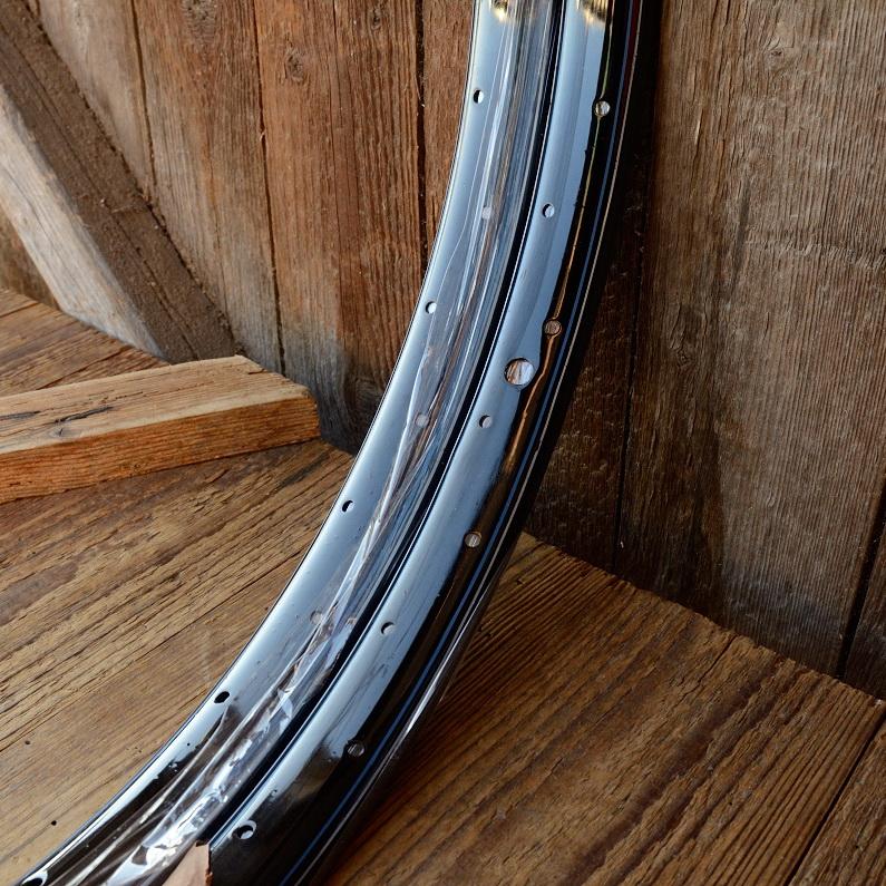 """Fahrradfelgen Satz f. Wulstbereifung, 20"""" x 1 1/2 (450), Stahl, schwarz, blau-weiss liniert, orig. 30-50er Jahre, 36 Loch , 33mm breit"""