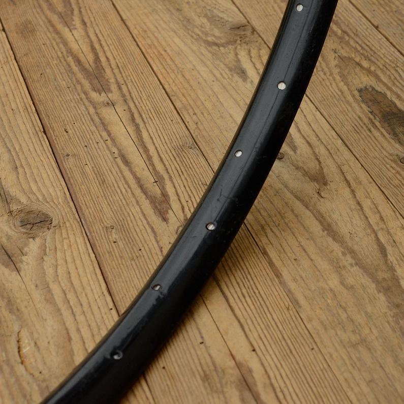 """Fahrradfelge f. Wulstbereifung, 28"""" x 1 1/2 (635), Stahl, Pulver schwarz, orig. 10-30er Jahre, 36 Loch, 35mm breit"""