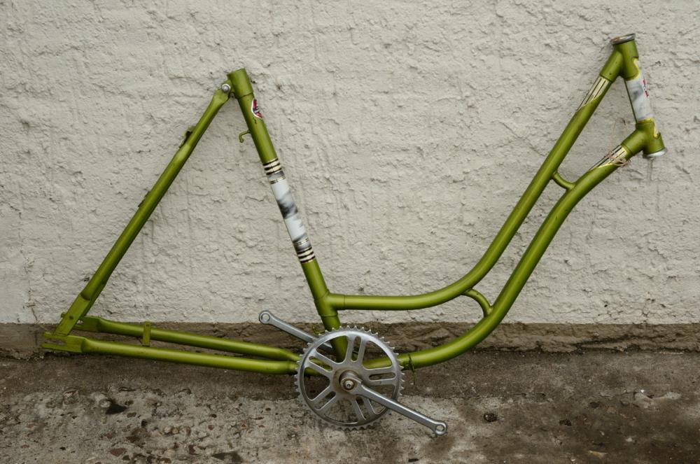 "Fahrradrahmen ""WESTFALEN"",  Damenausf., 28 Zoll,  RH=54cm, orig. 50er J., ohne. Gabell incl. Tretlager"