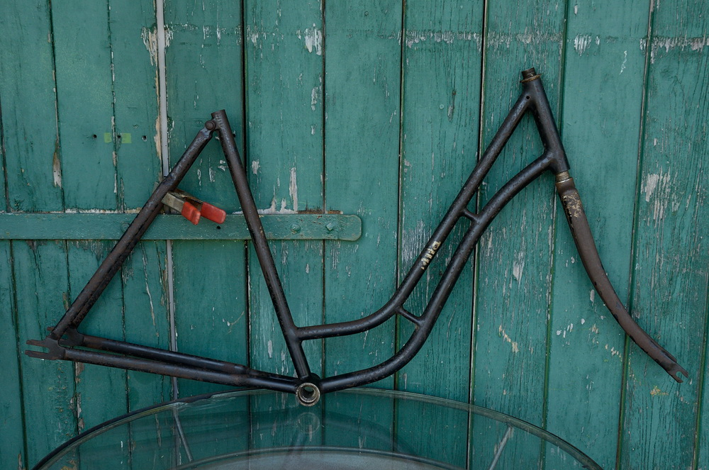"Fahrradrahmen  ""MIFA"",  Damenausf., schwarz, 26 Zoll,  RH=55cm, 30er J., incl. Gabel"