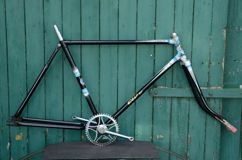 "Fahrradrahmen  ""ELITE"",  Herrenausf., schwarz , 28 Zoll,  RH=55cm, 50/60er J., incl. Gabel u. Tretlager, alte Neuware !"