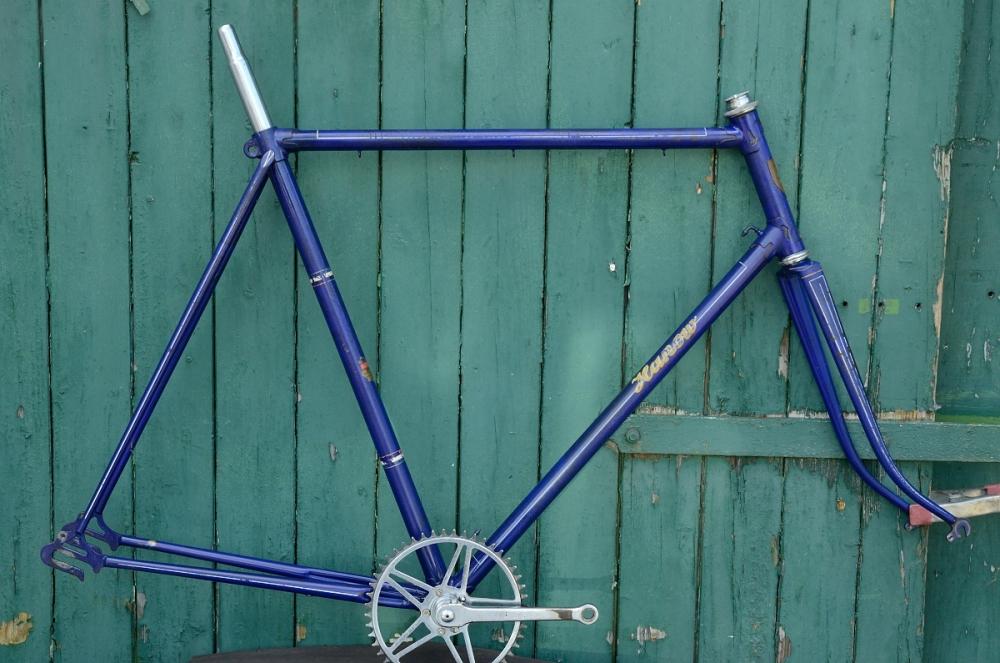 """Fahrradrahmen  """"HANOW"""",  handgefertiger Rennrahmen aus Berlin ! , blau , 28 Zoll,  RH=62cm, 50/60er J., incl. Gabel u. Tretlager"""