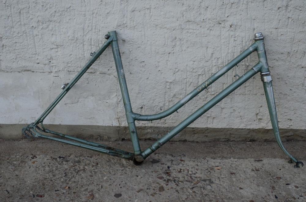 "Fahrradrahmen  ""DIXI"",  Sport Damenausf., grün silber, 26 Zoll,  RH=53cm, 50er J., incl. Gabel ohne Tretlager"