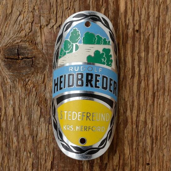 """Steuerkopfschild  """"HEIDBREDER"""", Stedefreund Herford, 60er Jahre,  Originalschild aus Sammlungsauflösung !"""
