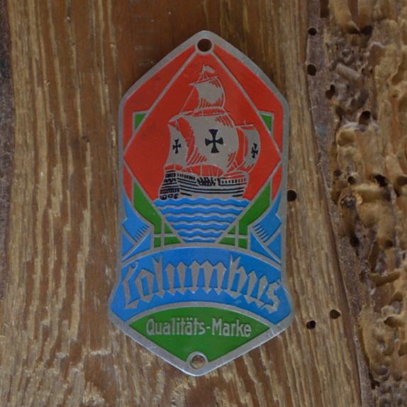 Steuerkopfschild COLUMBUS, Originalschild aus Sammlungsbestand