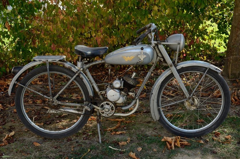 Wanderer Motorfahrrad 98 ccm, bj. 1937, EZ 1946, seltener Originalzustand mit Originalbrief , feldgrau lackiert