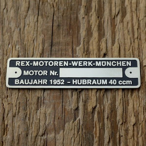 Typenschild für REX 40  ccm Fahrradmotor, originalgetreue Nachfertigung, blanco