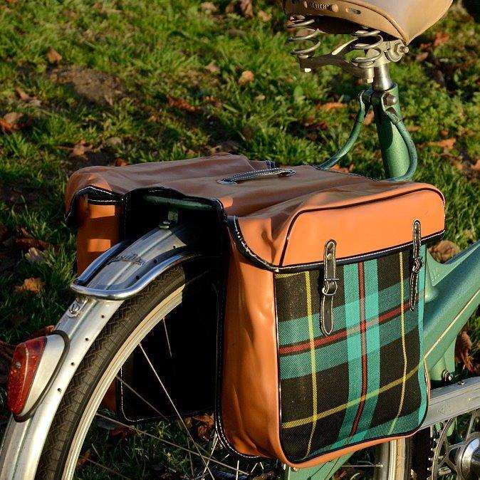 Packtaschen für Fahrrad, grün-kariert/braun,orig Altbestand,