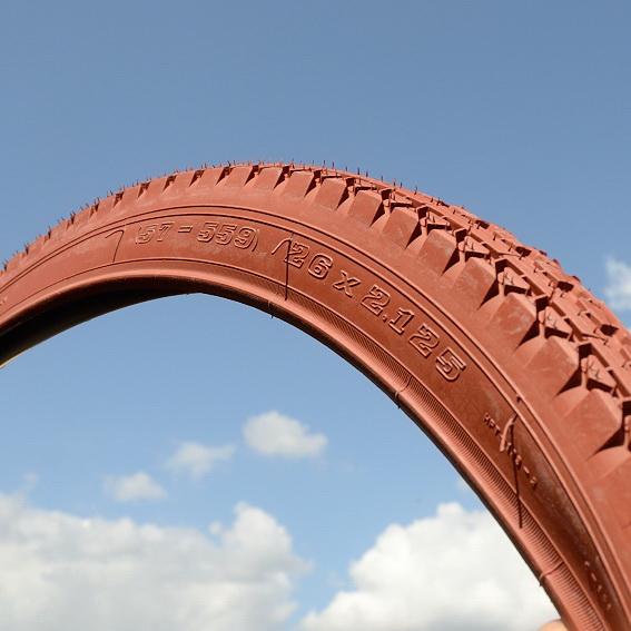 Fahrrad Reifen 26 x 2,125, 57-559 (Ballon), ziegelrot, ideal für alle Ballonradklassiker ab den 30er Jahren