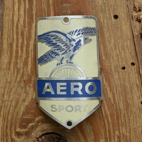 Steuerkopfschild  AERO SPORT, blau, 30-50er Jahre, Originalschild aus Sammlungsbestand