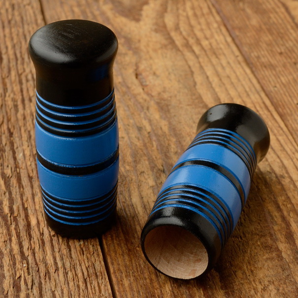 Holzgriffe,  ballige Form, zweifarbig lackiert, blau-schwarz, 25mm, 100mm lang