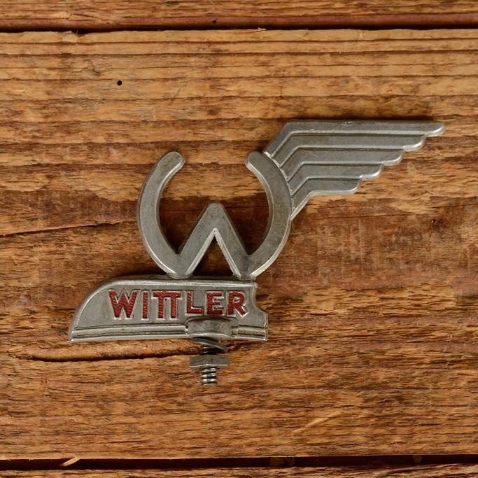 """Schutzblechfigur """"WITTLER """", Alu Druckguss, orig. Altbestand 50er Jahre, Zustand siehe Bild"""
