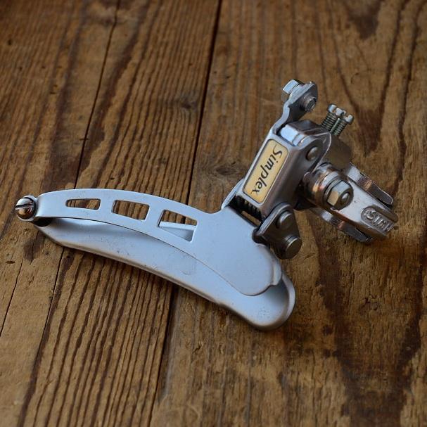 """Umwerfer """"SIMPLEX"""", 2-fach, Aluminium, mit Klappschelle ca. 29 mm, 70/80er Jahre,  NOS"""