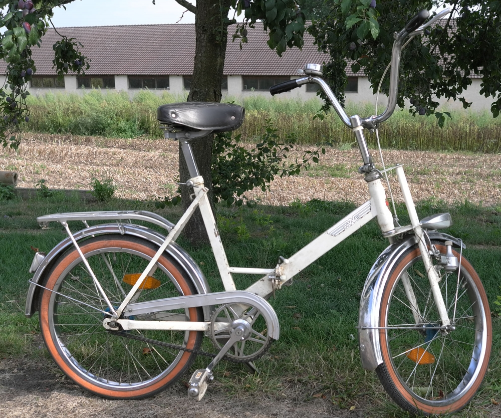 "Klappfahrrad  ""HWE"", Einbeck 70er J., weiss, 20 Zoll, incl. F+S 2-Gang Duomatic Nabe, damaliges Topmodell"