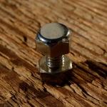 Schraube Sechskant, Zollgewinde (4.7mm), verchromt, L=15/10mm, incl. Mutter, Sechskant SW=9mm, orig. Altbestand