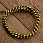 Zierspirale / Bowdenzugummantelung, schwarz/gelb, 120cm lang, orig. Altbestand