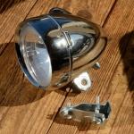 Fahrradscheinwerfer, verchromt, klassische Bauform mit Schalter, 2 Birnen im Reflektor, umschaltbar