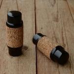 Holzgriffe mit Korkauflage, schwarz, Kork naturfarben, 22mm, 95mm lang